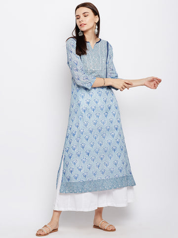 Powder blue straight kurta with hand work
