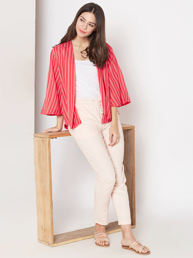 Red printed cotton shrug