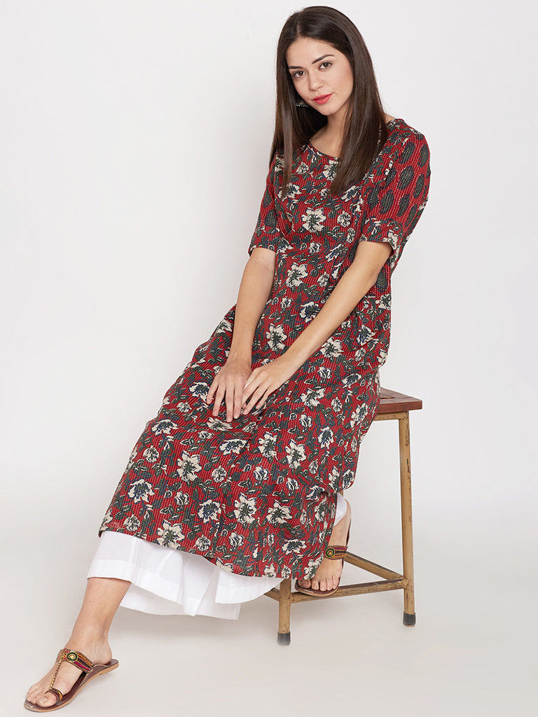 Red block printed kantha overlap kurta