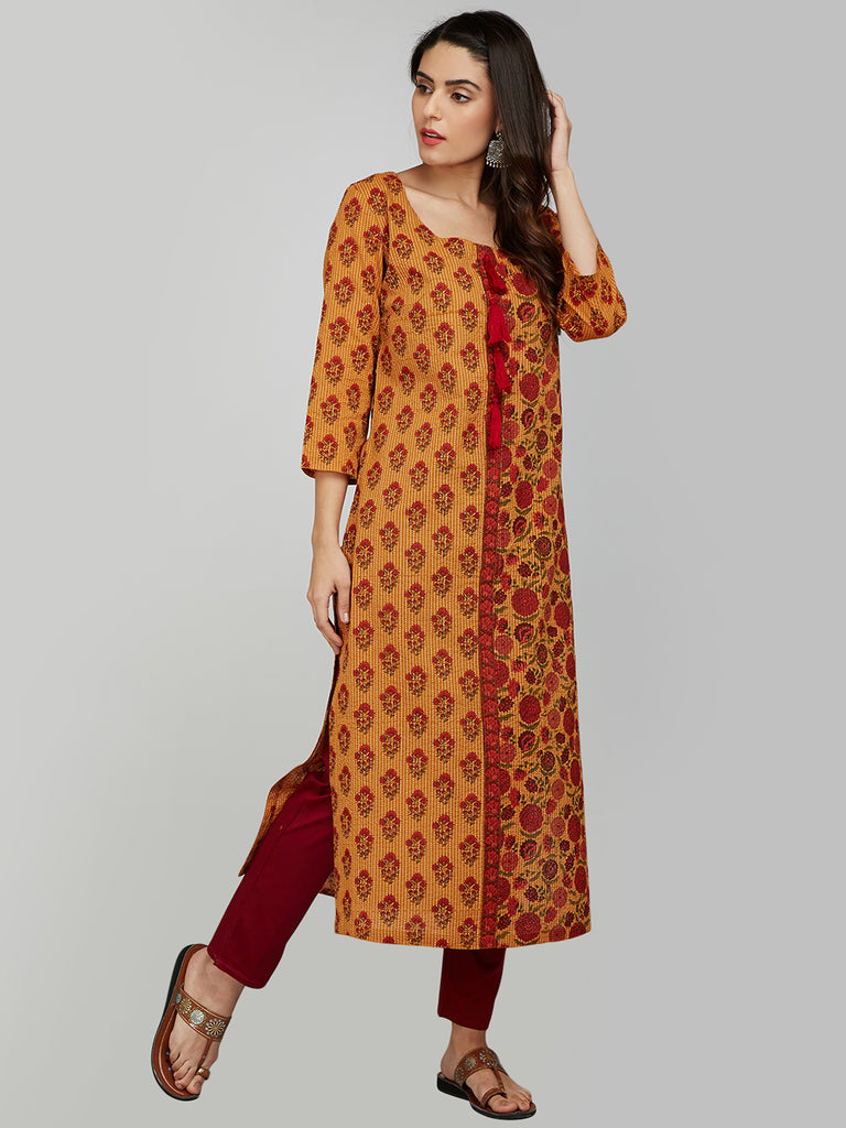 MUSTARD COTTON KANTHA STRIAGHT KURTA