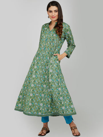 GREEN HAND BLOCK PRINTED ANARKALI KURTA