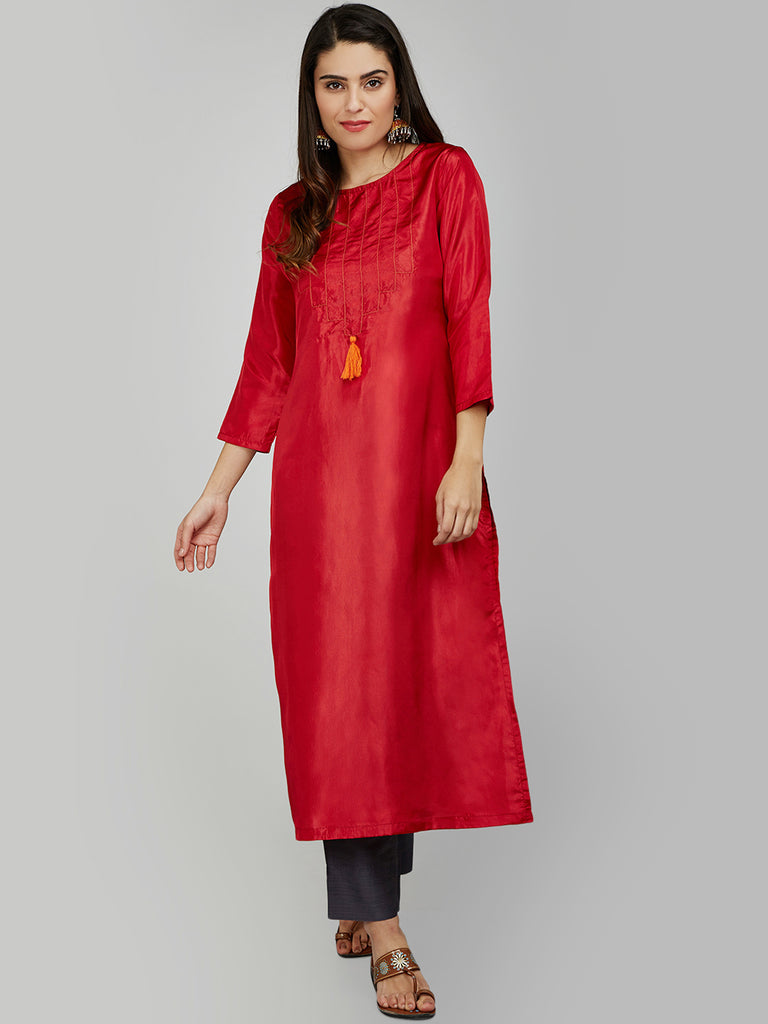 RED SILK KURTA WITH TASSEL AND STITCH LINE WORK ON THE YOKE