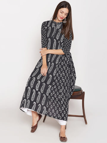 Cotton Kantha Kurta with Side Gathers