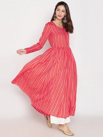Red printed cotton anarkali kurta