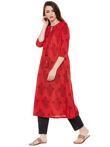 Red block printed tasselled kurta