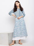 Powder blue straight kurta with front placket