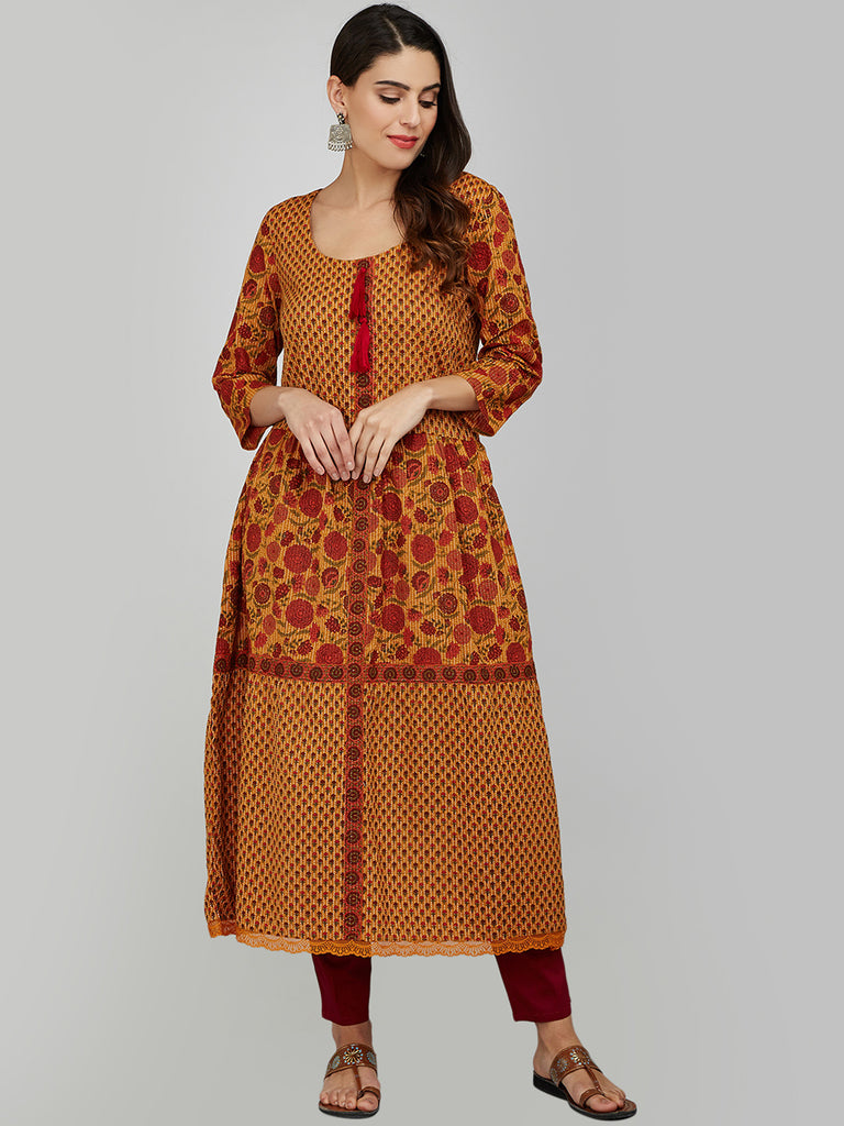 MUSTARD COTTON KANTHA TIER KURTA