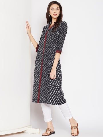 Cotton Kantha Kurta with Front Opening