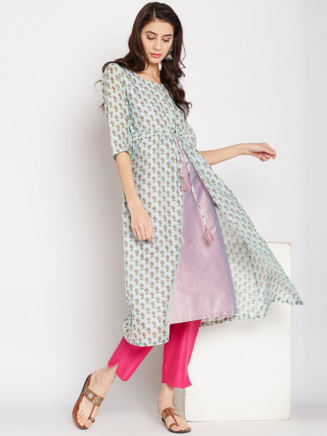 Green Chanderi Layered Kurta with Tie & Tassel