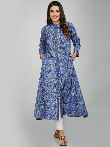 BLUE HAND BLOCK PRINTED BAND COLLAR KURTA
