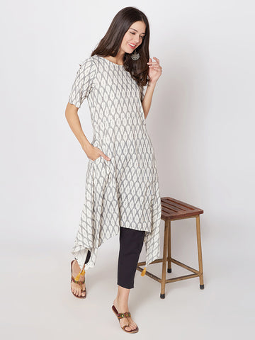 Ikat kurta  with assymetric hem