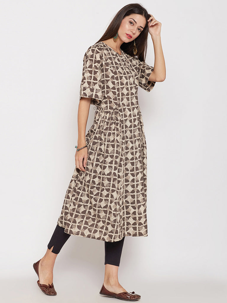 Brown overlap hand block printed kurta