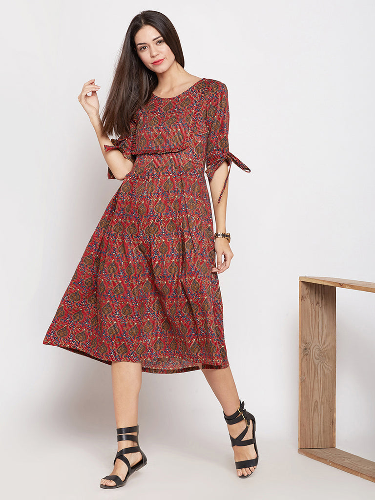 Red hand block printed dress with yoke.