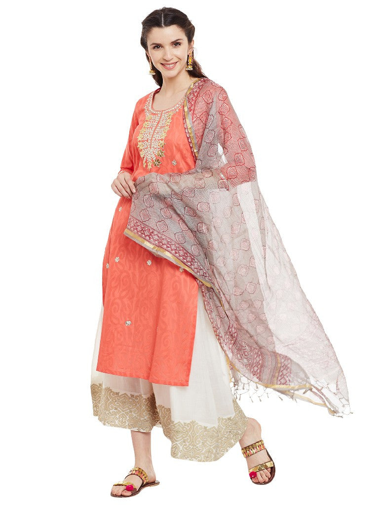 Peach-kurta-with-gota-patti-work