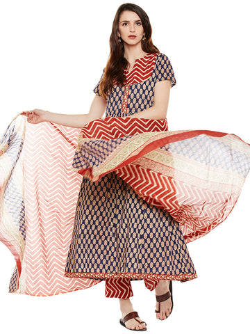 BLUE & RED PRINTED KURTA PALAZZO SET