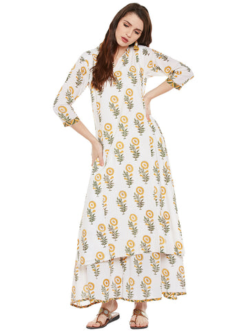 Yellow-offwhite hand block printed kurta palazzo set