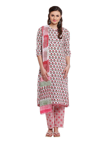 Lyla Cotton Block Print Suit
