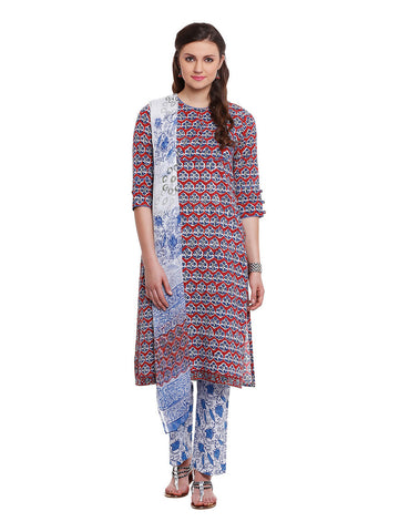 LYLA COTTON FLORAL SUIT WITH PANT & DUPATTA