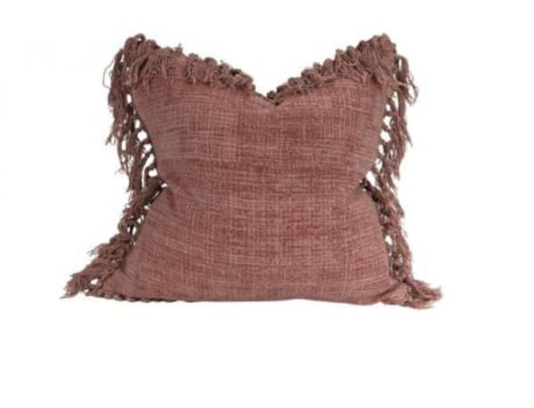 Homewood & Rose Pink Mushroom Tassel Cushion