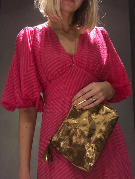 COPPER BAG REPURPOSED AS A CLUTCH BAG BY KATIE