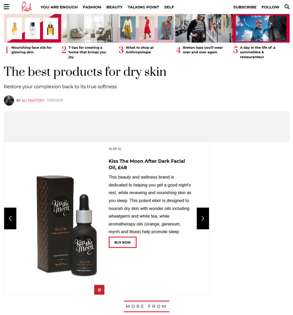 red online review of glow after dark face oil