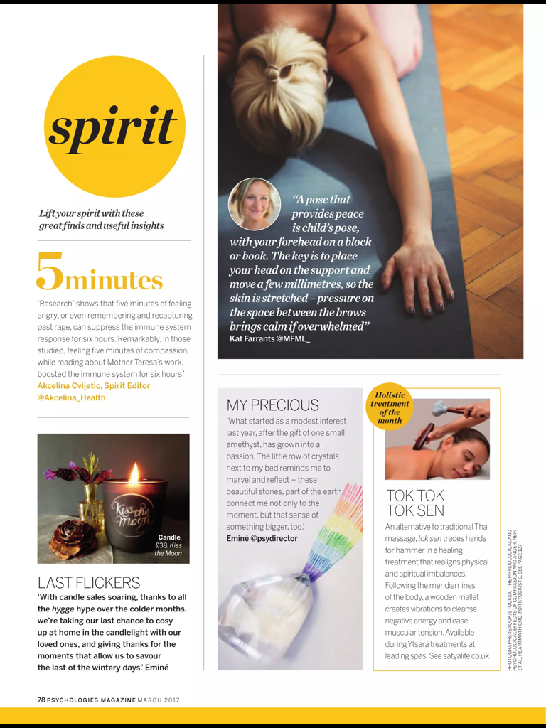 Psychologies Mag March 2017 featuring Kiss the Moon DREAM Aromatherapy Soy Candle