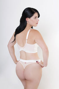 Matching, luxurious silk and lace thong to Luxurious pocketed bra specifically designed for women post mastectomy and post-surgery
