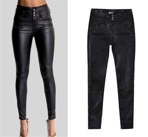 Women bikers leather pants