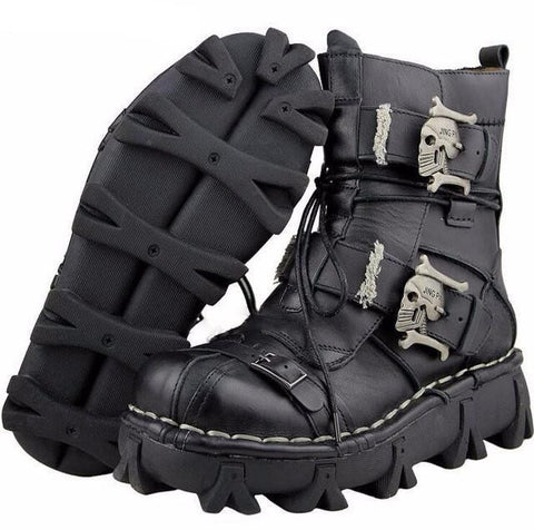 american legend rider handmade leather skull boots