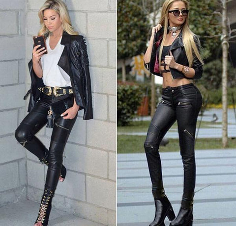 women chic pu pants