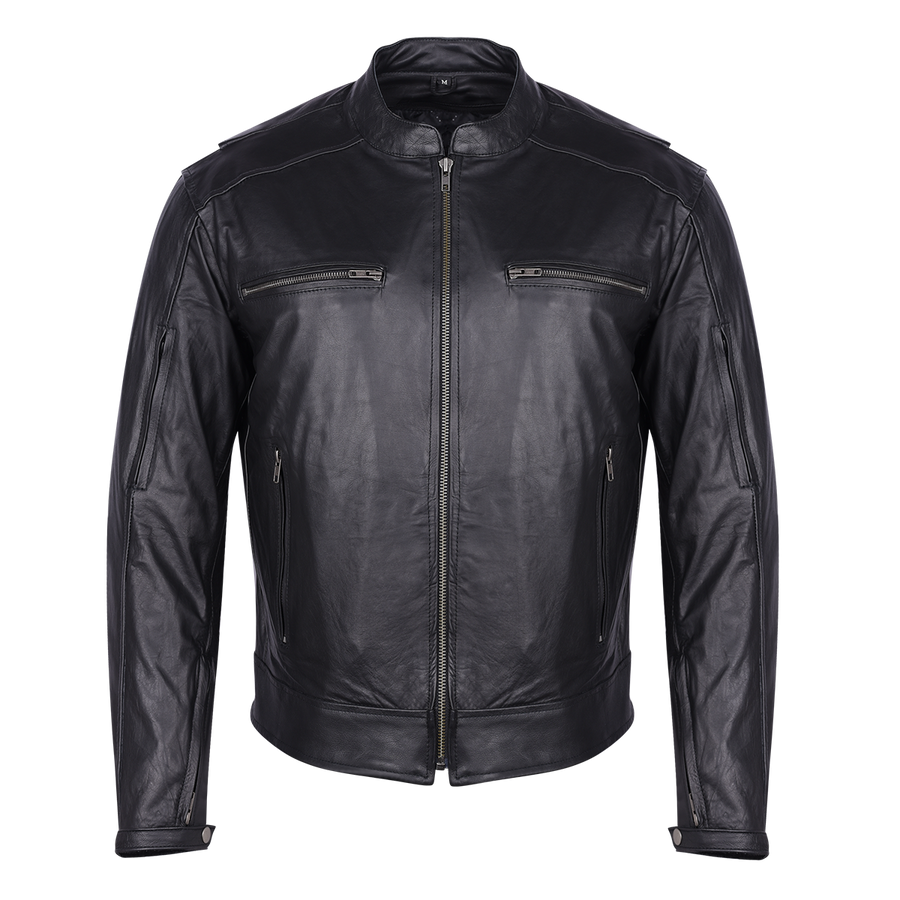 Vance Leather High Mileage Premium Men's Black Leather Jacket