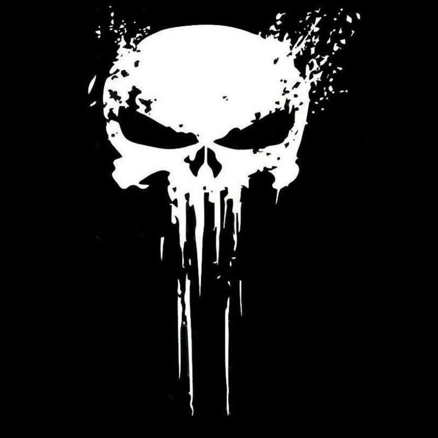 Punisher Skull Sticker Vinyl Decal, 4 x 6 in - American Legend Rider