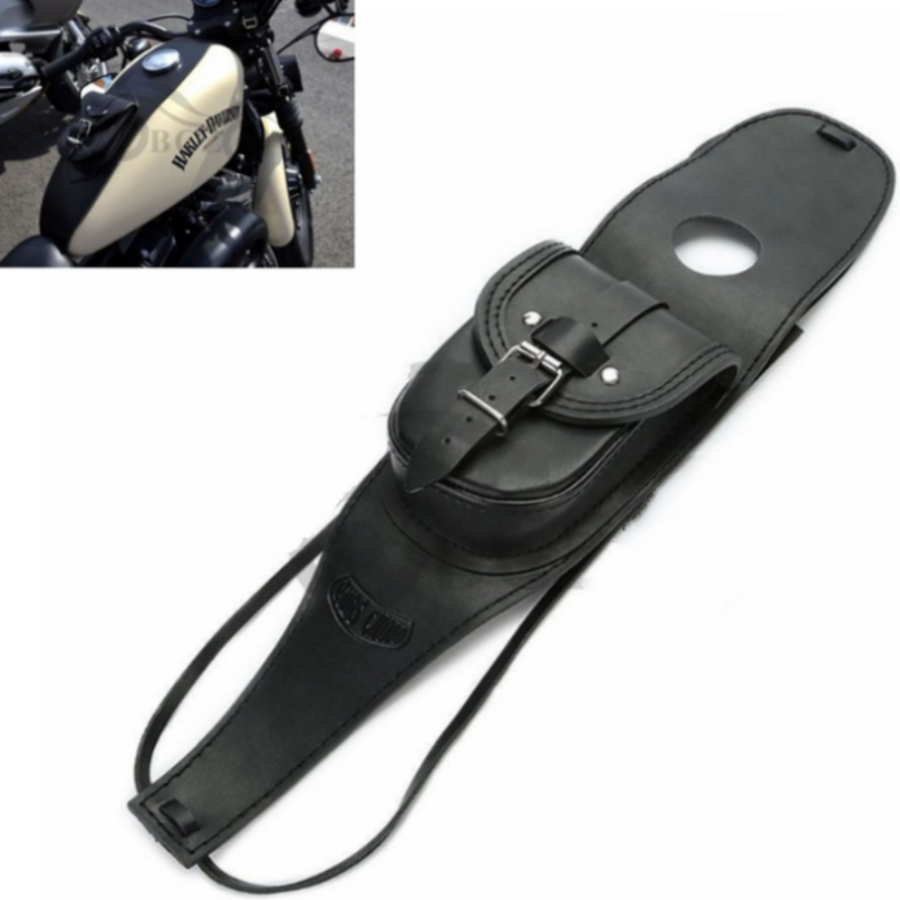 Retro Fuel Tank Bag, PU Leather, Black - American Legend Rider