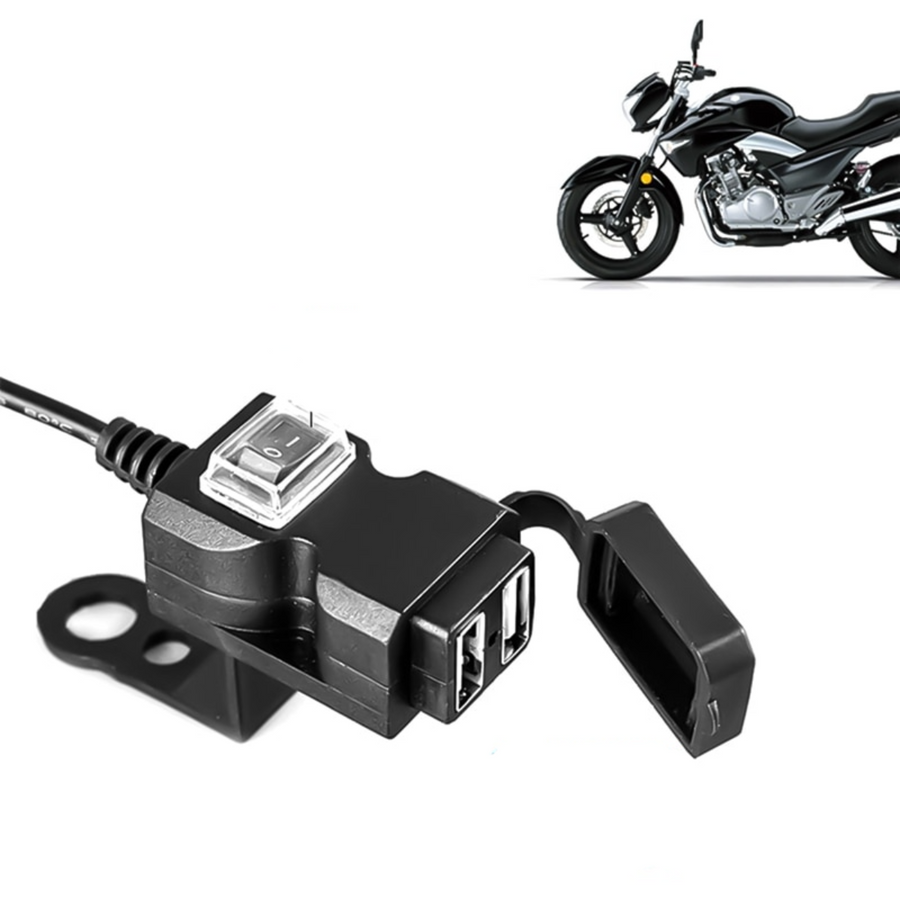 Dual USB Port 12V-24V Waterproof Motorcycle Handlebar Charger 5V 1A/2.1A Adapter for Mobile Phone