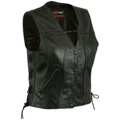 Daniel Smart Single Back Panel Concealed Carry Black Leather Vest - American Legend Rider