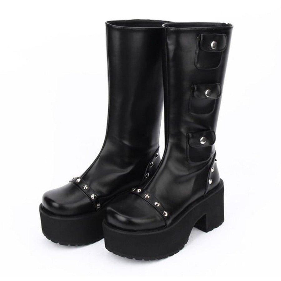Women's Thick Platform with Rivets Boots