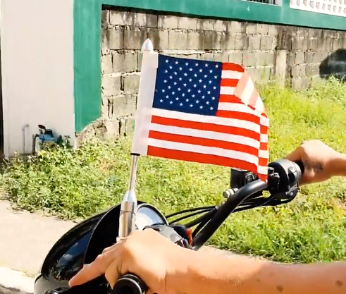 Daniel Smart Motorcycle Flagpole Mount and USA American Flag 13""