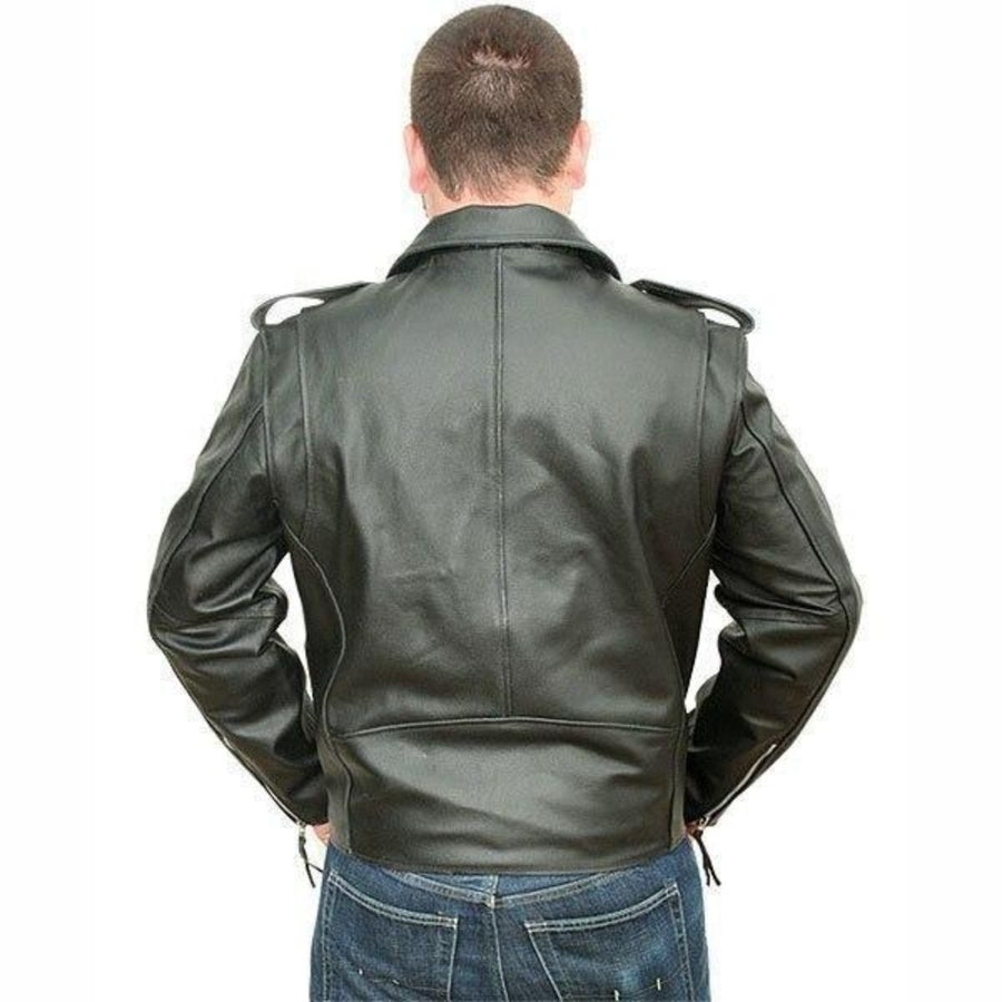Vance Leather Men's Classic Motorcycle Leather Jacket Plain Side w/Belted Waist