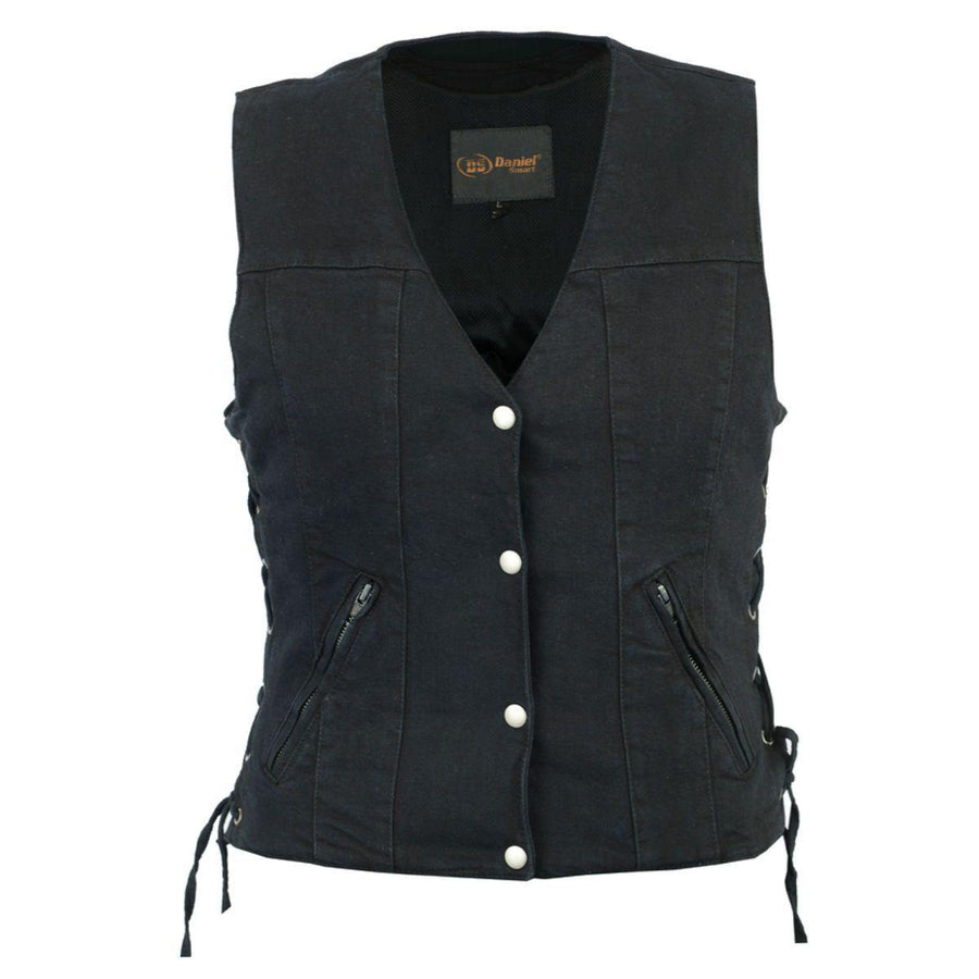 Daniel Smart Women's Single Back Panel Concealed Carry Denim Vest, Size XS-5XL, Black