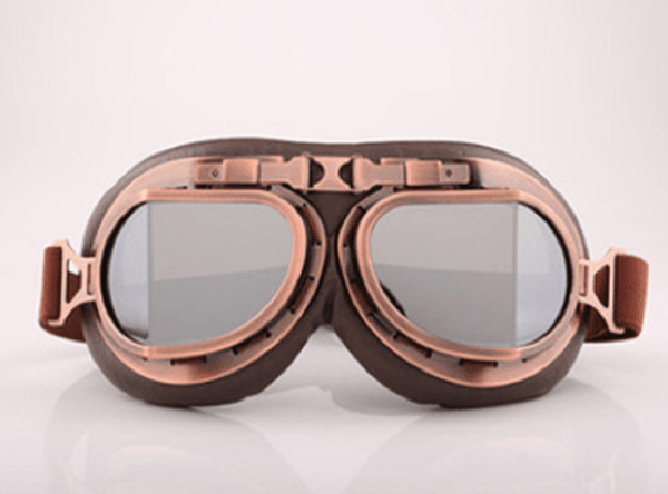 Vintage Aviator Motorcycle Goggles, One Size, Copper Color Frame, Silver Lens