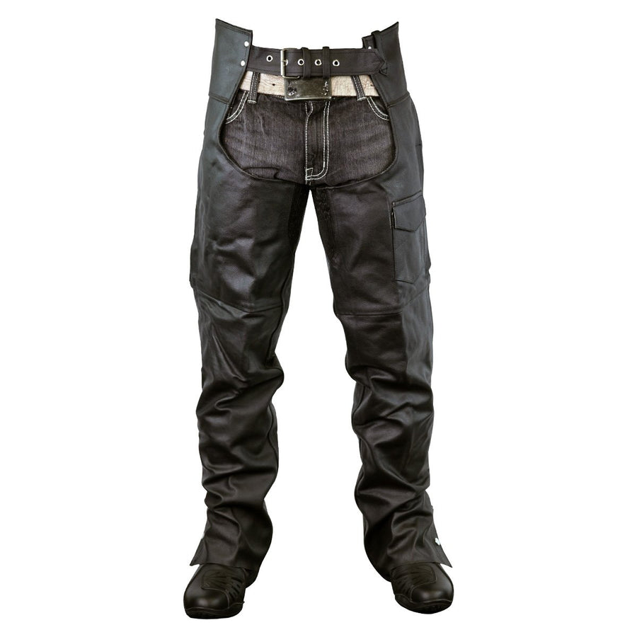 Vance Leather Zip-Out Insulated and Lined Plain Biker Leather Chaps, Unisex