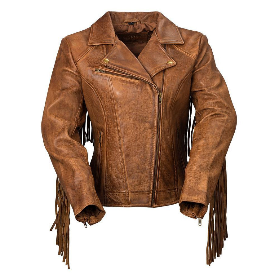 First Manufacturing Women's Daisy Fringe Motorcycle Leather Jacket, XS-5XL, Black/Oxblood/Whiskey