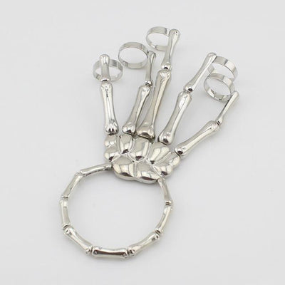 Women's Skeleton Hand Bracelet, Alloy (Lead and Nickle free), Adjustable Ring Size