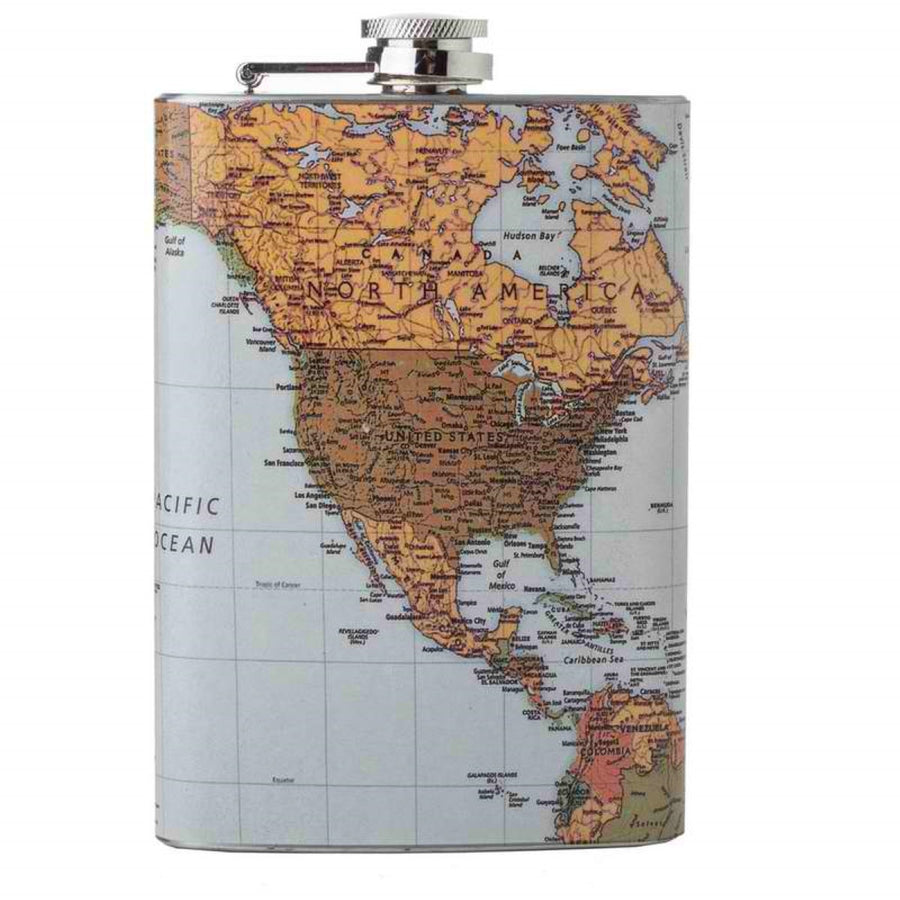 Jillian 8oz Flask with Antique World Map