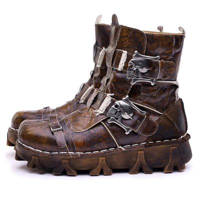 Men's Rustic Skull Leather Boots, US 7-13, Brown Black, Khaki, Retro Olive - American Legend Rider