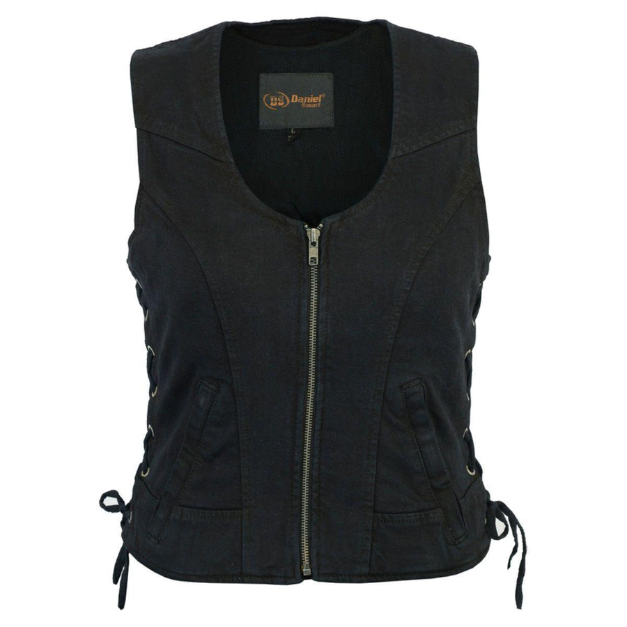 Daniel Smart Women's Stylish Denim Vest w/ Side Lacing
