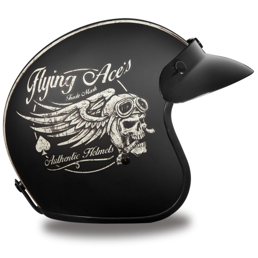 Daytona D.O.T. Cruiser w/ Flying Ace's Motorcycle Open Face 3/4 Shell Helmet, Unisex, Black - American Legend Rider