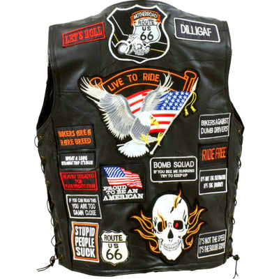 Diamond Plate™ Buffalo Leather Biker Vest with 42 Patches