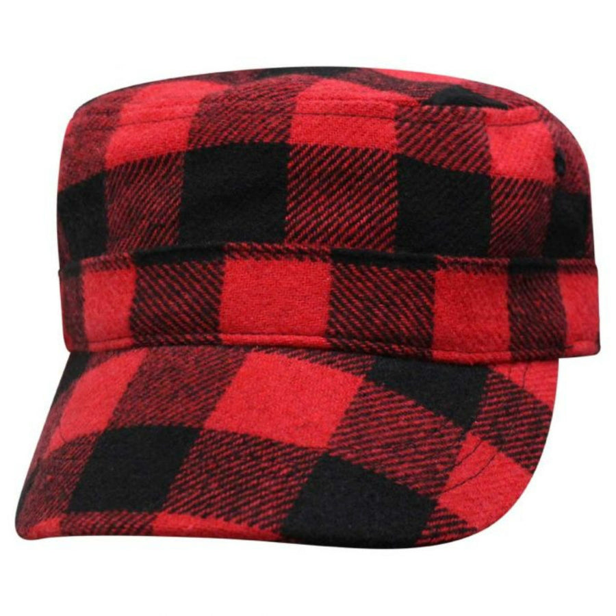 Daniel Smart Buffalo Plaid Fatigue Cap, Red/Black