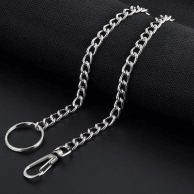 Wallet Keychain String, Stainless Steel, Unisex, 15 in, Silver Color